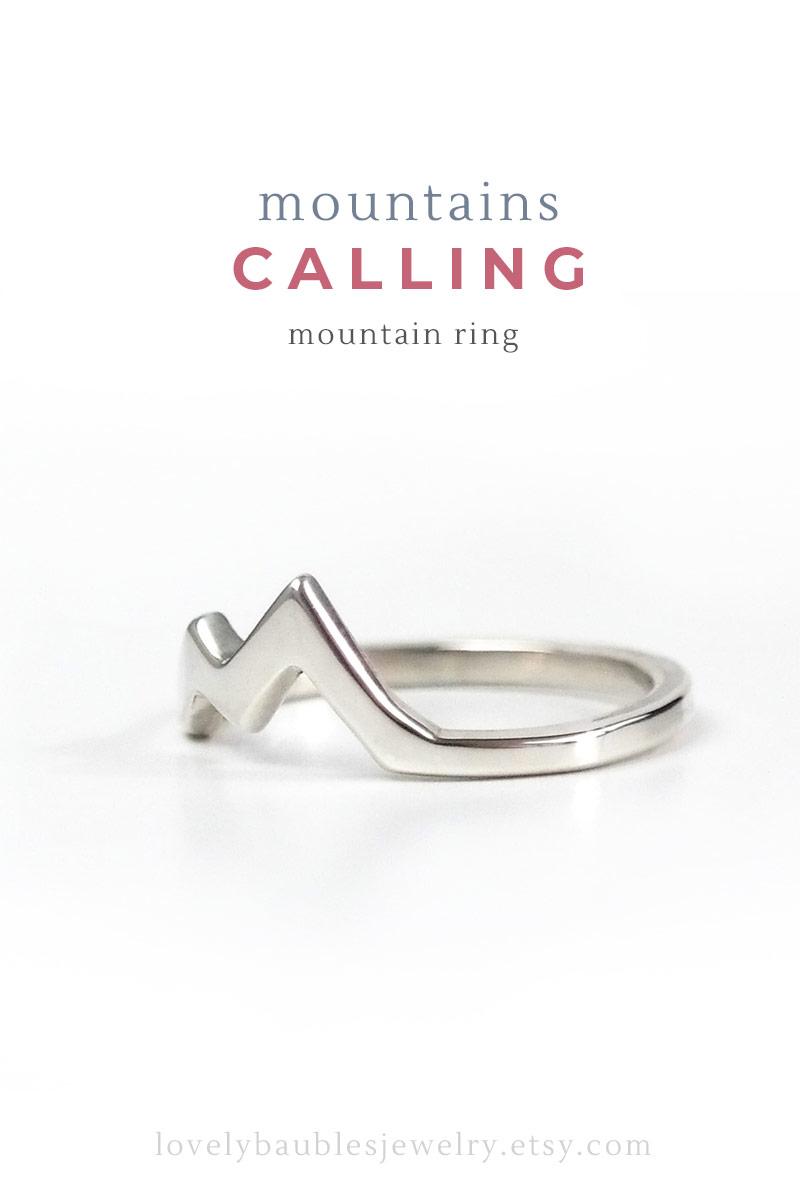 sterling silver mountain peak ring