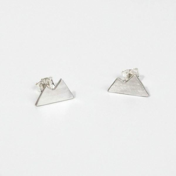 Silver Mountain Earrings, Stud Earrings