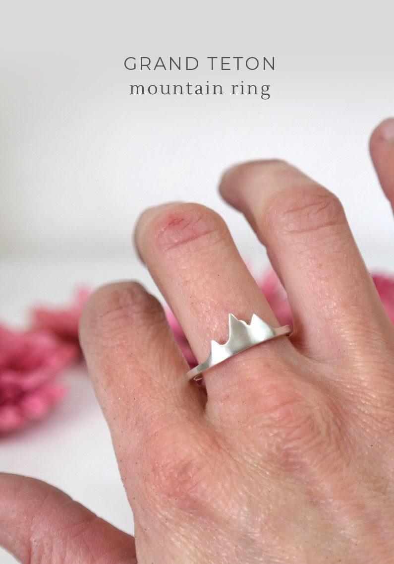 wearing tetons mountain ring