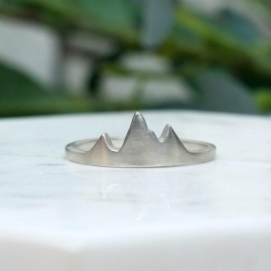 sterling silver mountain peak ring tetons