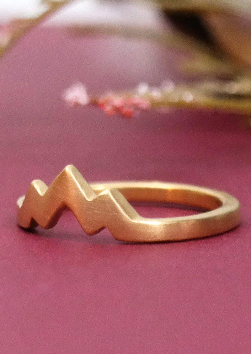 Gold Triple Peak Mountain Ring