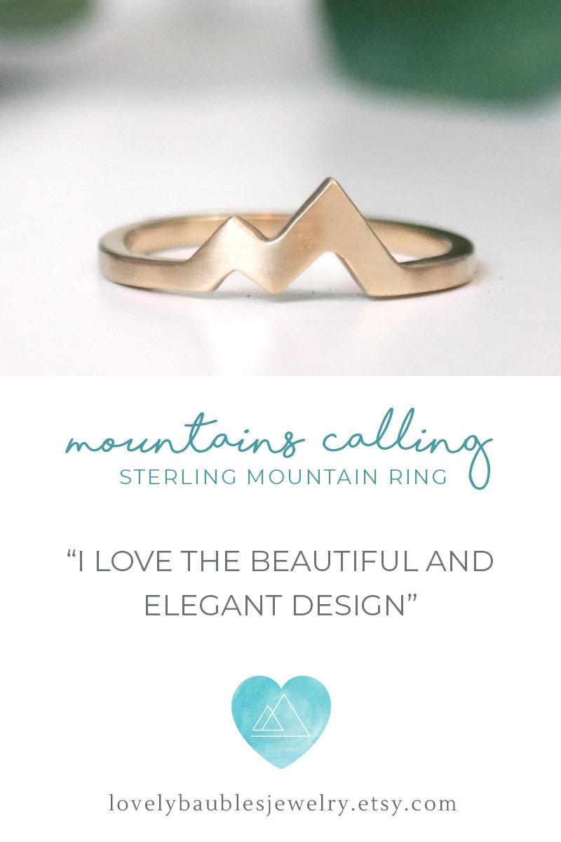 14k gold mountain peak ring