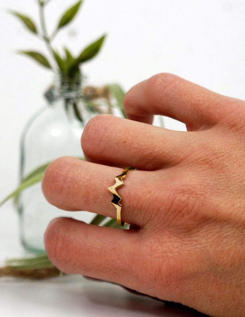 wearing Gold Triple Peak Mountain Ring