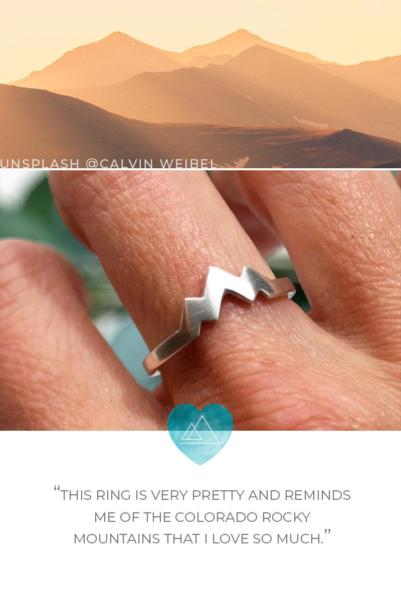 Three Peak Mountain Range Ring Sterling Silver
