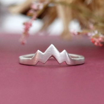 Three Peak Mountain Range Ring Sterling Silver