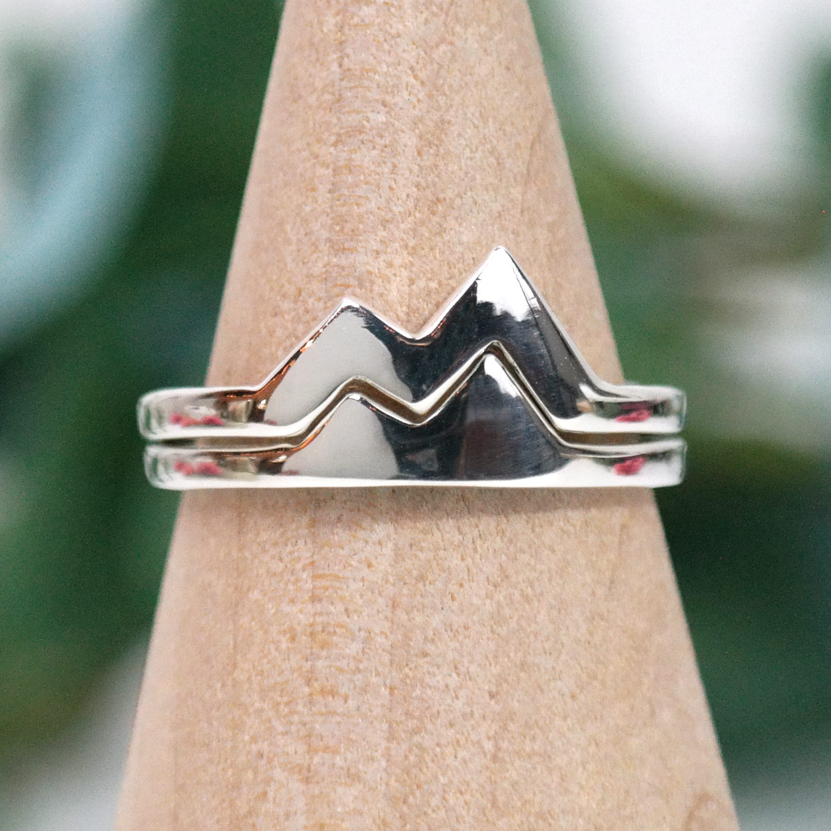 best friend mountain rings sterling silver stacking set