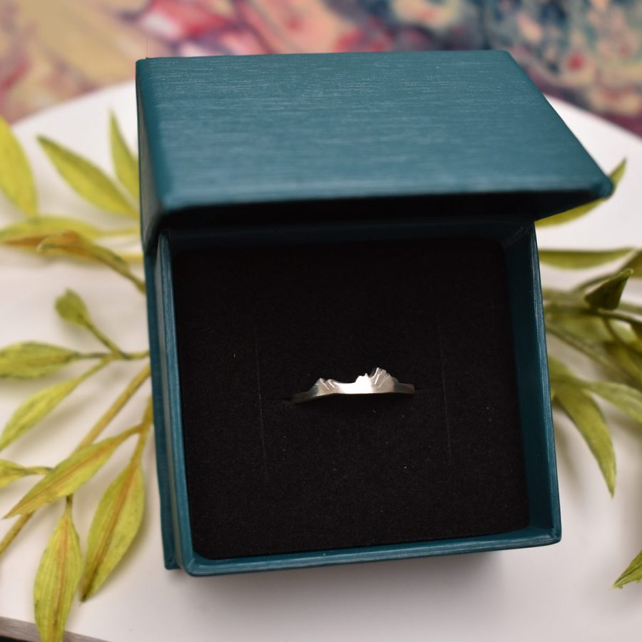 Custom sterling silver mountain ring