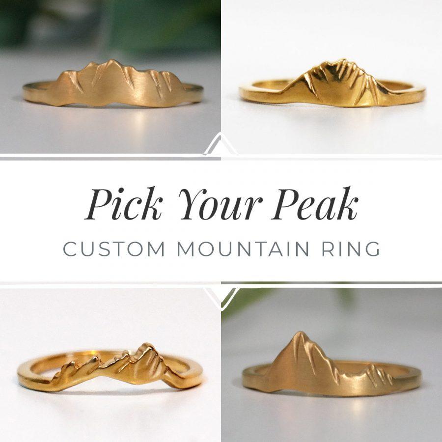 14k gold custom mountain rings