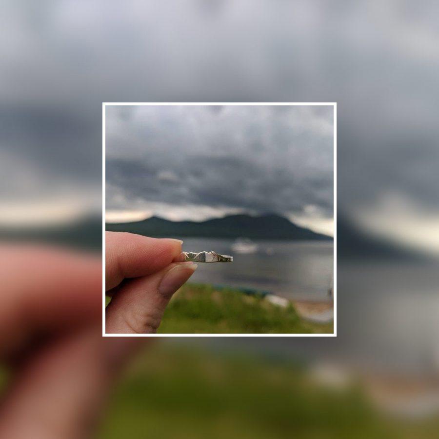 custom mountain ring with lake