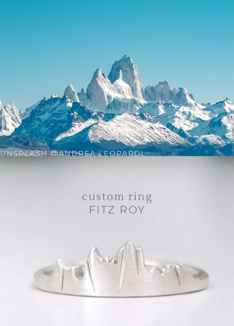 custom mountain ring of the Fitz Roy in patagonia