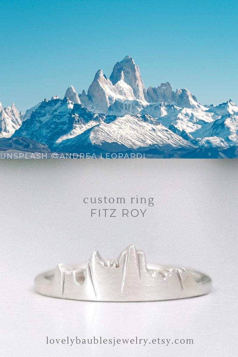 custom mountain ring of the Fitz Roy