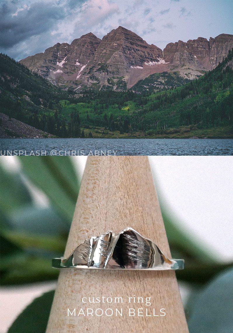 custom mountain ring of maroon bells in colorado