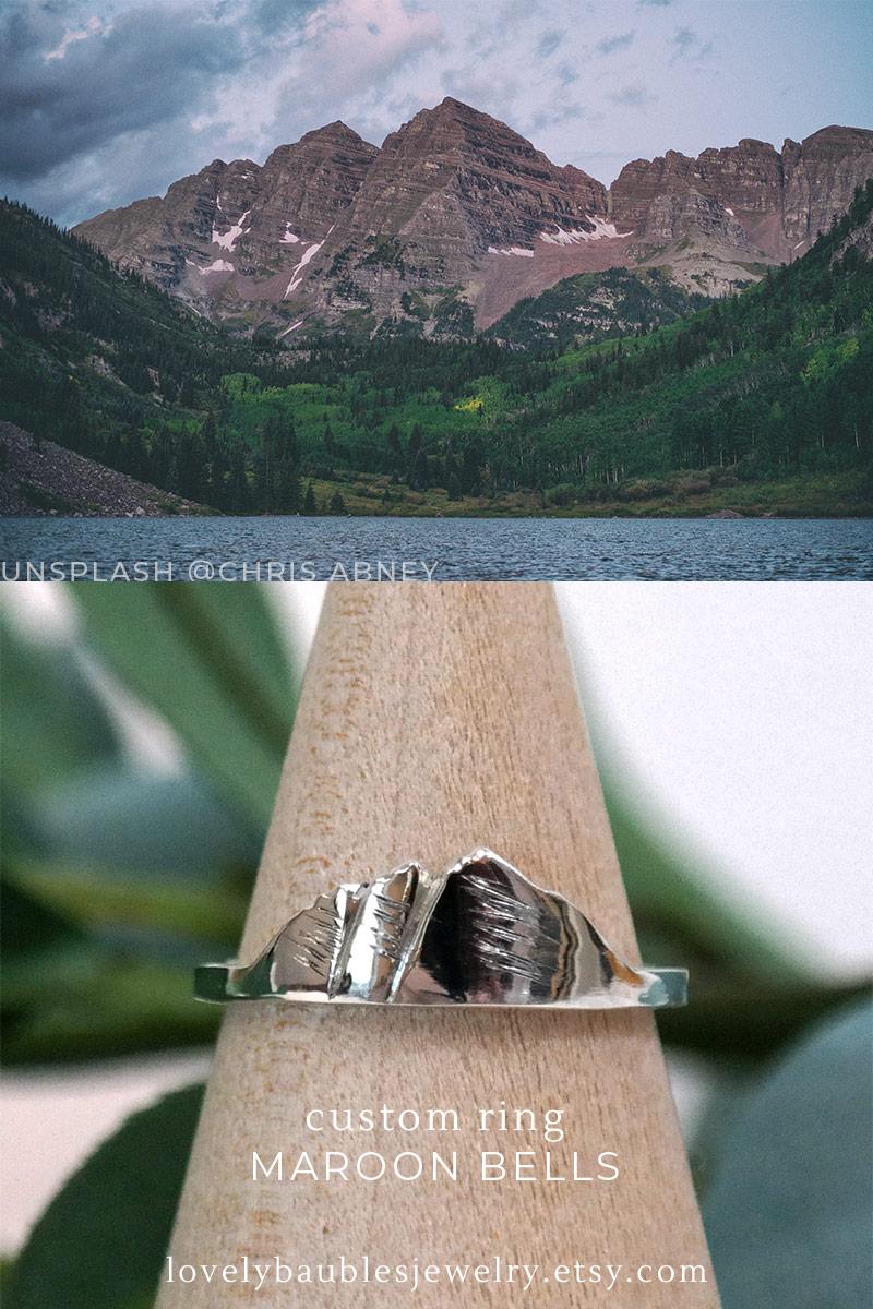 custom mountain ring of maroon bells