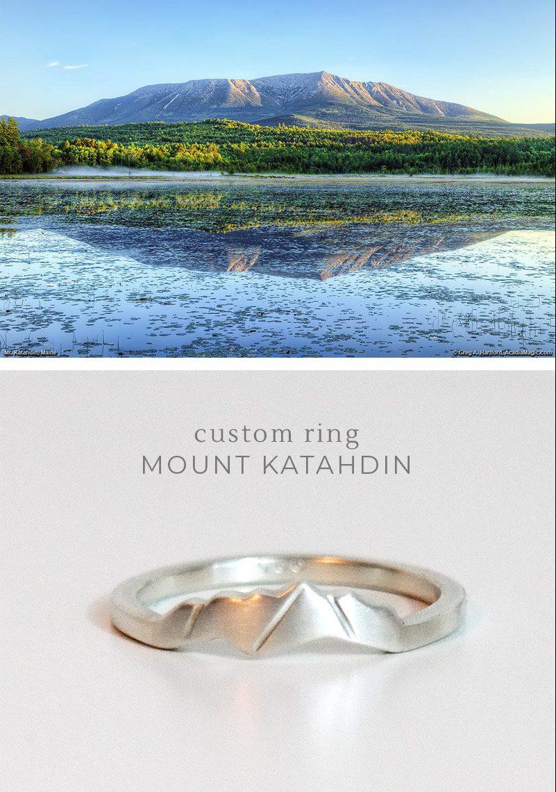 custom mountain ring of mt katahdin