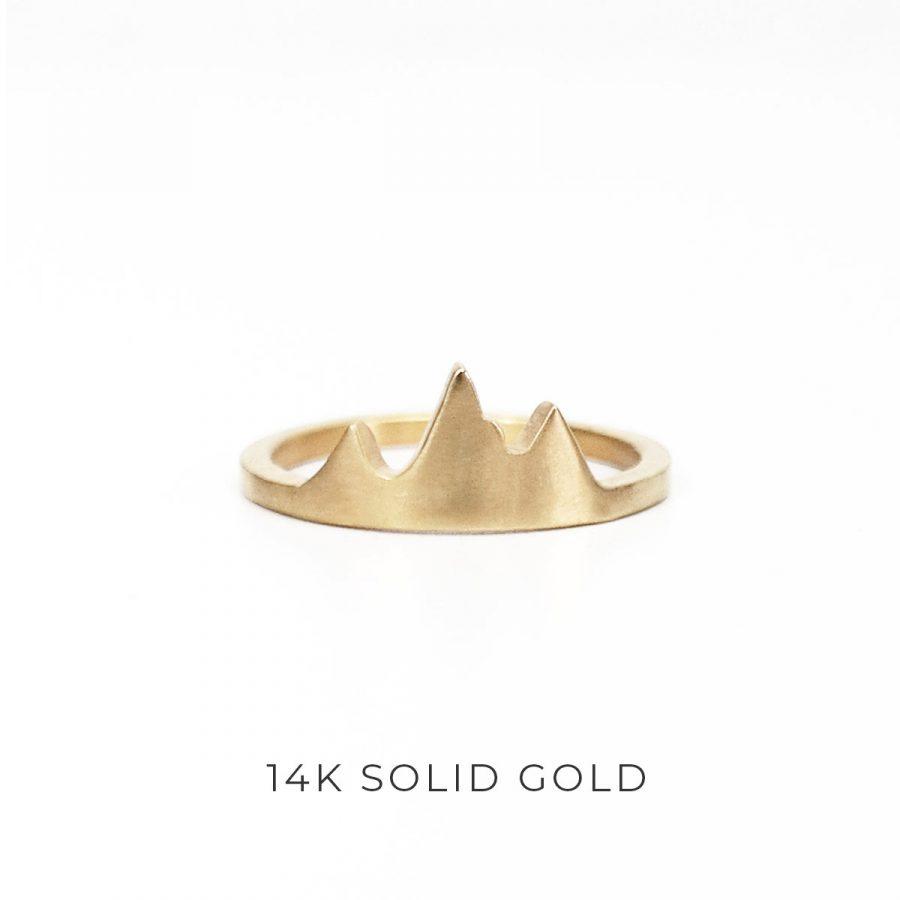 Gold Tetons Mountain Ring