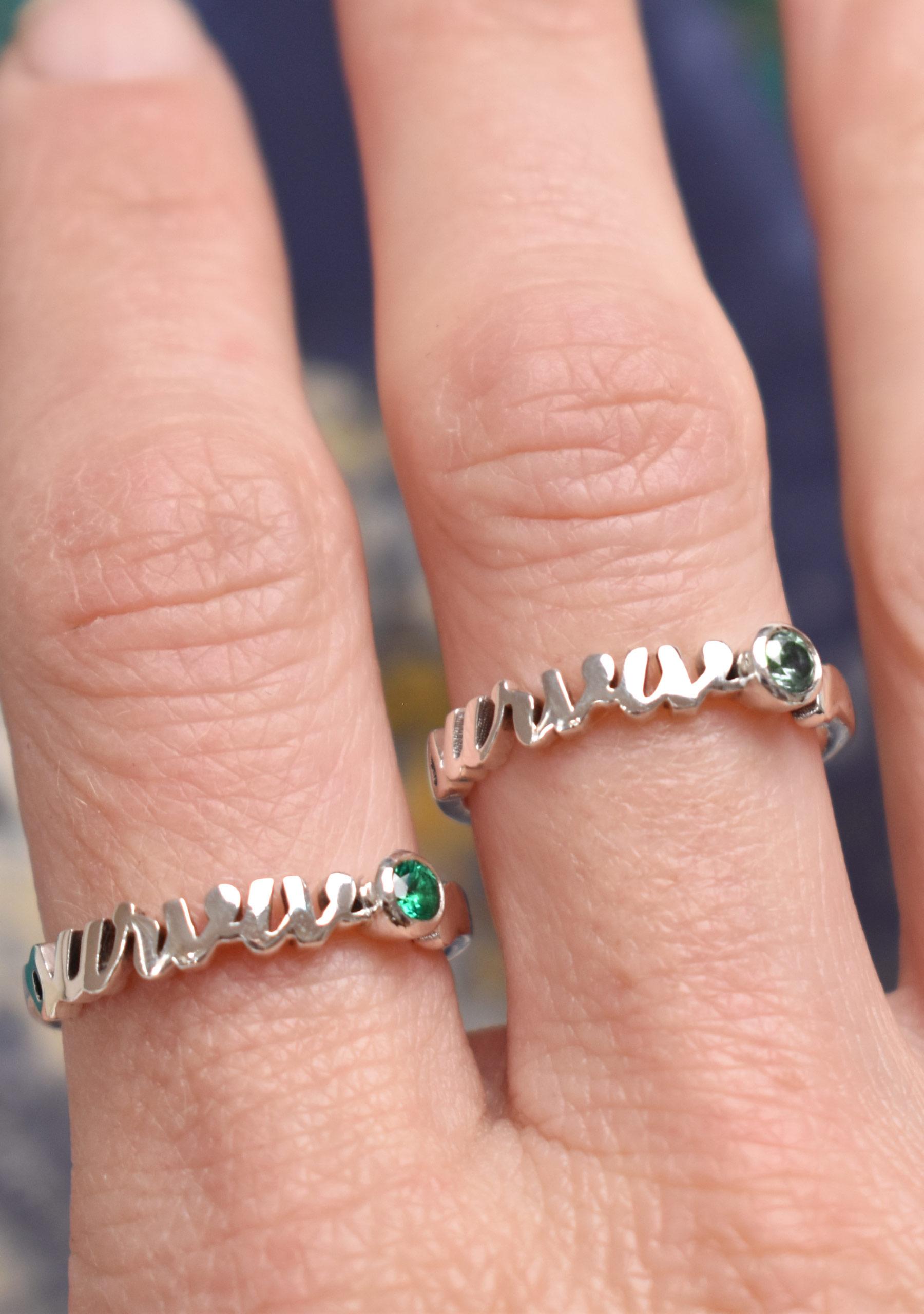 wearing Gemstone Cancer Survivor Rings