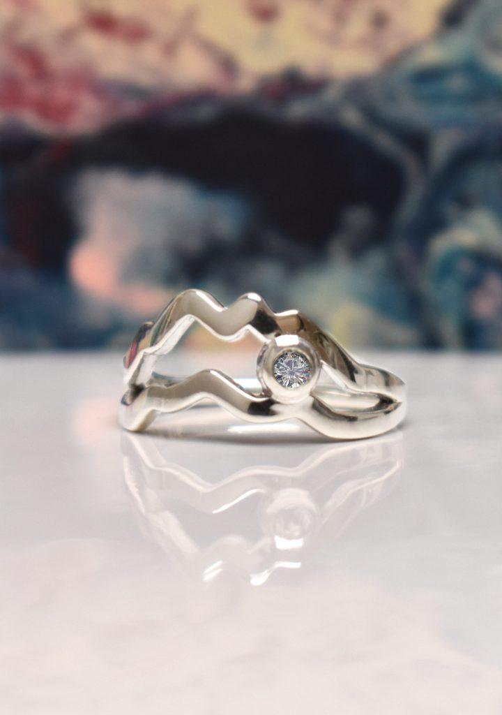 Custom Split Shank Diamond Mountain Ring