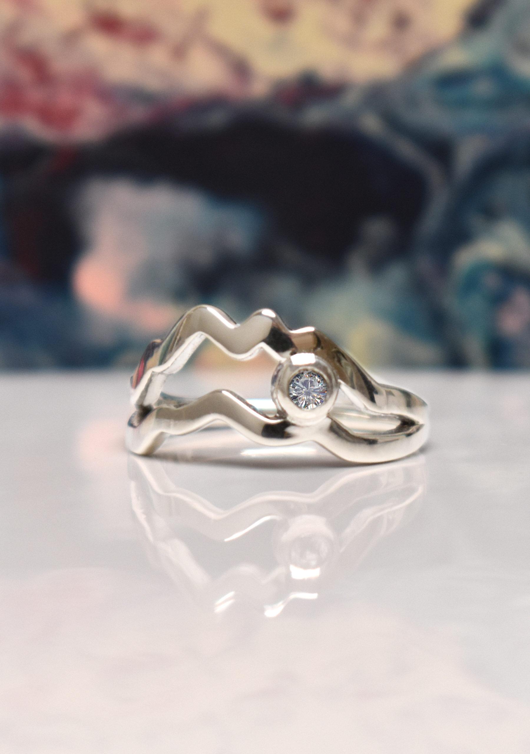 diamond mountain ring, split shank