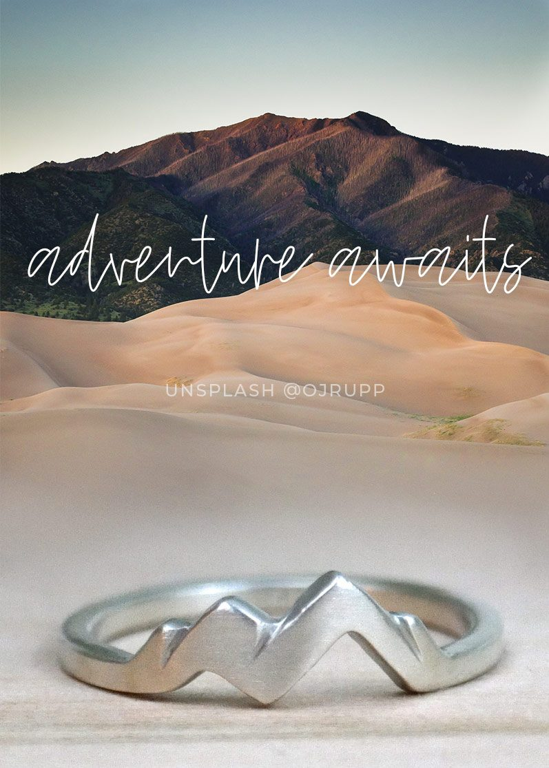Adventure Awaits Mountain Ring Sterling Silver