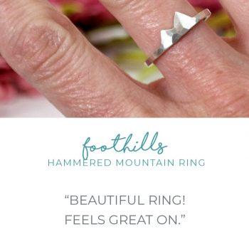 wearing hammered peak mountain ring