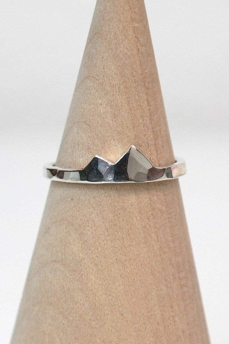 Hammered Foothills Mountain Ring Sterling Silver