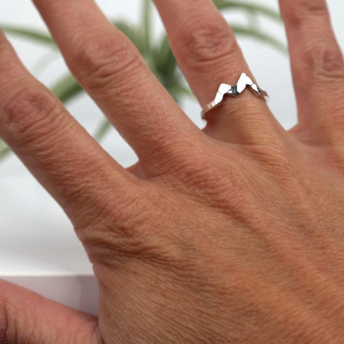 wearing hammered mountain ring