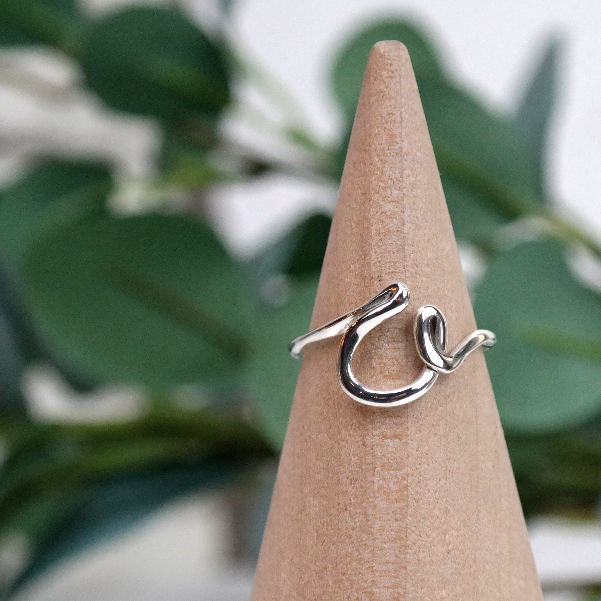 initial ring in sterling silver