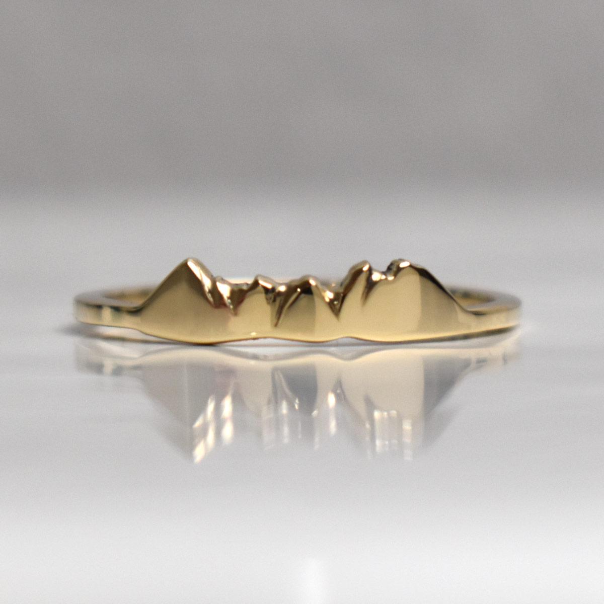 14k yellow gold custom mountain ring of bierstadt lake