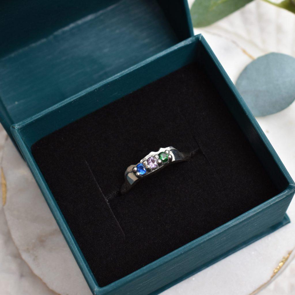 gemstone sterling silver mountain ring