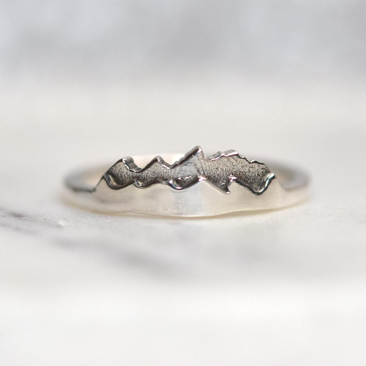 layered custom mountain ring