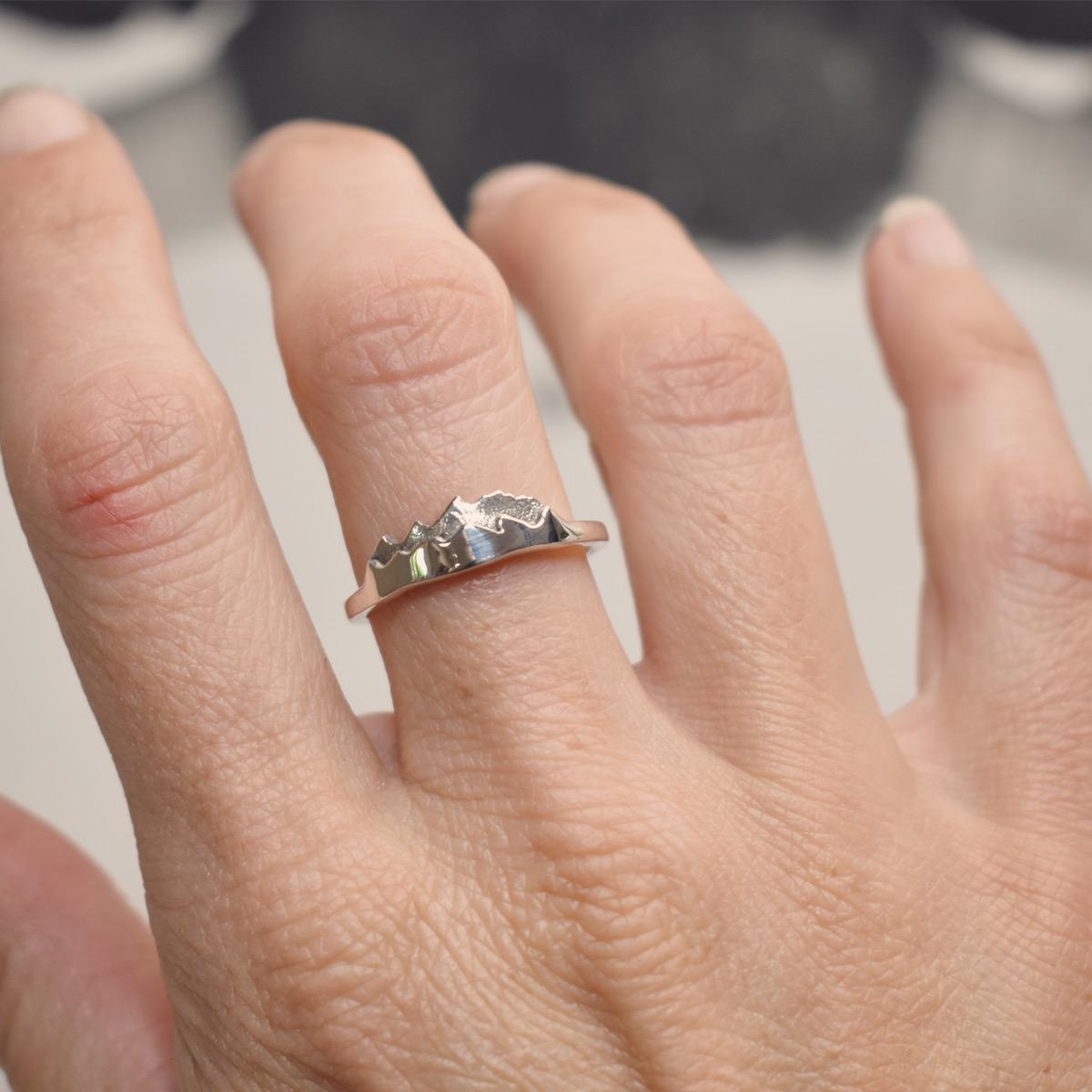 custom mountain ring of the tetons wearing