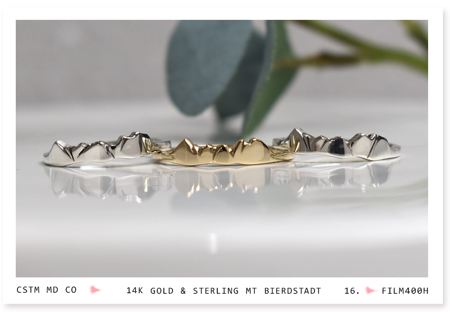 photo of mt bierdstadt sterling silver and gold mountain rings