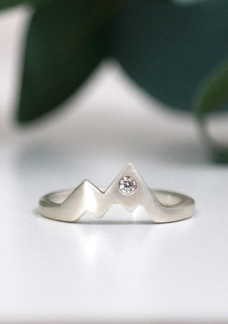 Sterling Silver Diamond Mountain Ring