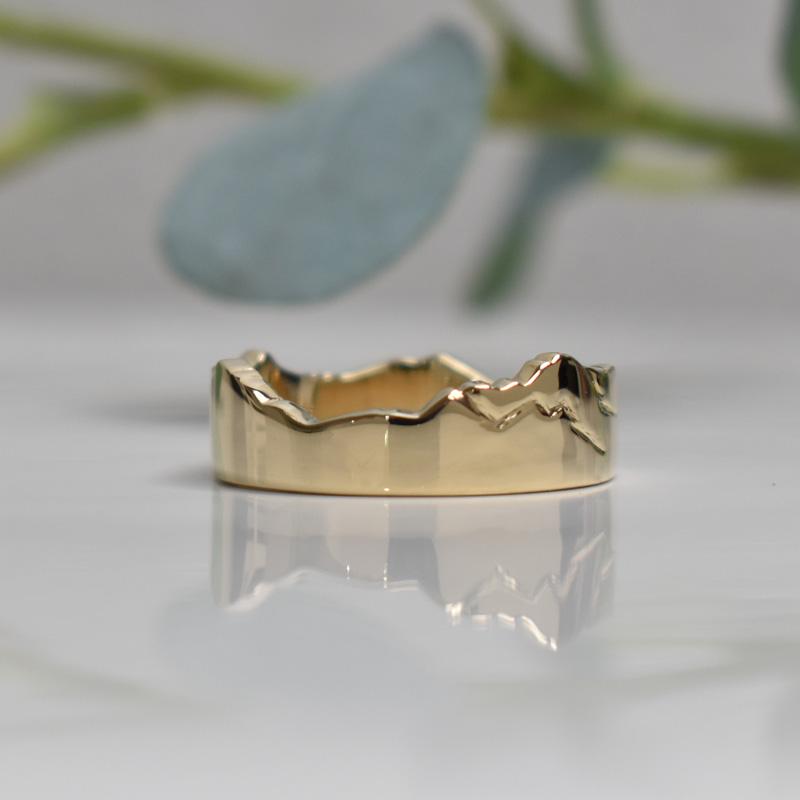 gold custom mountain ring
