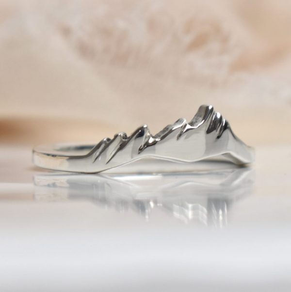 photo of a flatirons custom mountain ring in sterling silver
